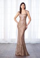 Cameron Blake - 217632 Sequined Queen Anne Sheath Gown
