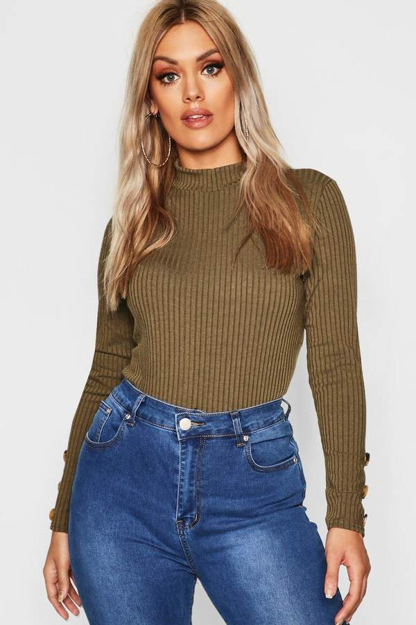 boohoo Plus Rib Polo Neck Sweater With Buttons
