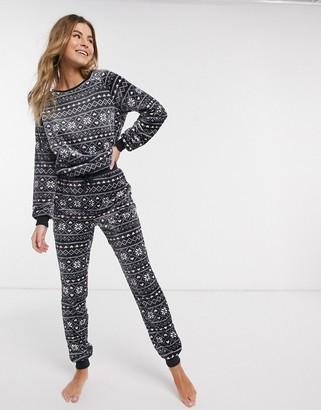 New Look fairisle pyjama joggers in grey