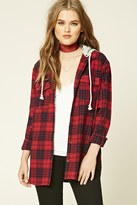 Forever 21 FOREVER 21+ Hooded Plaid Flannel Shirt