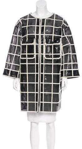 Chanel Laser Cut Vegan Leather Coat