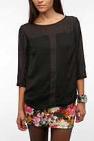 Urban Outfitters Silence & Noise Textured Sheer Inset Blouse