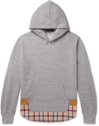 Comme des Garçons Homme Twill-Trimmed Melange Fleece-Back Cotton And Wool-Blend Jersey Hoodie