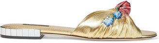 Dolce & Gabbana Knotted Floral-print Metallic Leather Slides