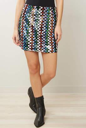 Endless Rose Patterned Sequin Mini Skirt Multi S