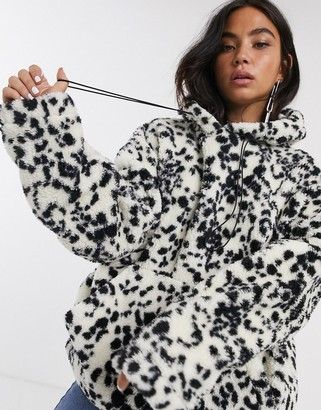 New Girl Order oversized hoodie in dalmation fleece with toggle tie-Multi