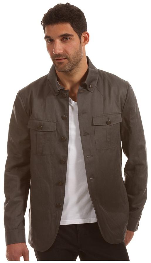 John Varvatos Collection - Military Shirt Jacket (Seal Grey) - Apparel