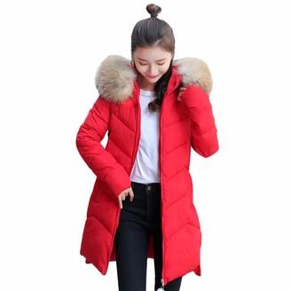 LEXUPE Women Autumn Winter Warm Comfortable Coat Casual Fashion Jacket Outerwear Fur Hooded Coat Long Cotton-Padded Zipper Jackets Pocket Coats Red