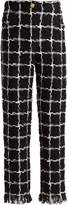 Balmain High-rise checked tweed trousers