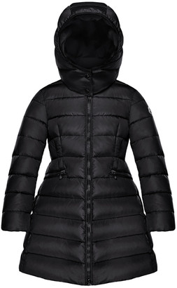 Moncler Charpal Long Puffer Coat with Detachable Hood, Size 4-6