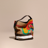 Burberry The Medium Ashby in Canvas Check with Appliqué