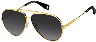 Marc Jacobs Metal Aviator Sunglasses, Black/Gold