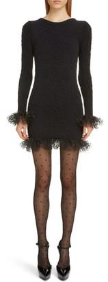 Saint Laurent Tulle Trim Long Sleeve Boucle Dress