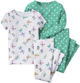 Carter's 4-pc. Butterfly & Polka Dot Pajama Set - Baby Girls newborn-24m