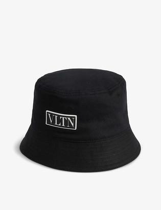Valentino VLTN logo-patch cotton bucket hat
