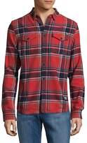 Superdry Men's Rookie Plaid Cotton Button-Down Shirt - Red, Size x-large