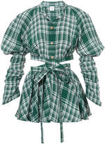 Rosie Assoulin cut out plaid blouse