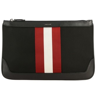 Bally Cayard Clutch Bag In Canvas And Leather With Striped Band