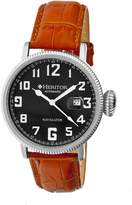 Heritor Olds Automatic Black Engraved Dial Brown Leather Men's Watch HR3201