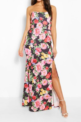 boohoo Floral Print Shaped Bandeau Thigh Split Maxi Dress