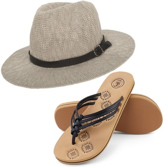 Aerusi Coral Jones Floppy Straw Hat and Foam Flip Flop Sandals Bundle Set