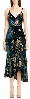 Marchesa Floral Embroidered Velvet High/Low Dress