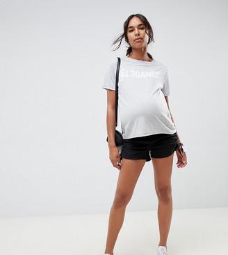 Asos DESIGN Maternity basic ruched side shorts in black