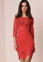 Missy Empire Chelian Red Crochet Bodycon Dress
