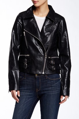 Tov Studded Double Buckle Faux Leather Jacket