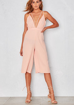 Missy Empire Nimah Pink V Plunge Strappy Culottes Jumpsuit