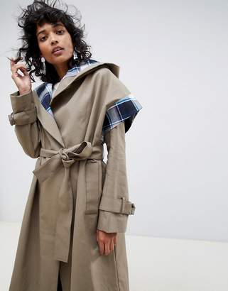 Asos trench coat with check lining-Green