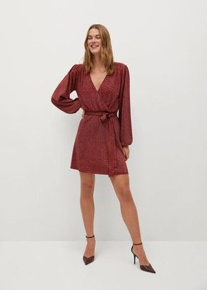 MANGO Shiny texture dress red - 10 - Women