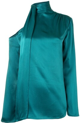 Sally LaPointe One-Shoulder Satin Top