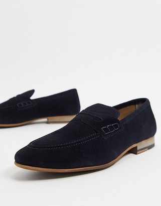 Topman suede loafers in navy