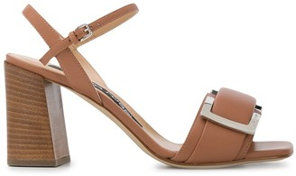 Sergio Rossi Buckle-Plaque Block-Heel Sandals