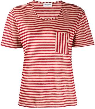 Saint Laurent striped chest pocket T-shirt
