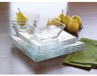 clear Mainstays 12-Piece Square Glass Dinnerware Set
