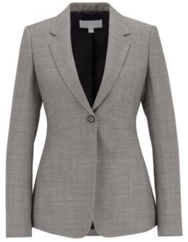 HUGO BOSS Regular Fit Jacket In Stretch Fabric With Birdseye Pattern - Patterned