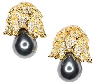 Kenneth Jay Lane Grey Pearl Clip Earrings