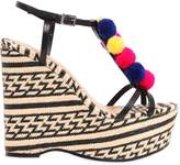 Schutz 130mm Pompom Leather & Raffia Sandals