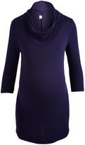 Glam Navy Three-Quarter-Sleeve Maternity Cowl Neck Tunic