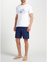 John Lewis Bike T-Shirt and Shorts Lounge Gift Set, White/Navy