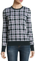 Equipment Shane Plaid Wool Sweater, Ivory Multi