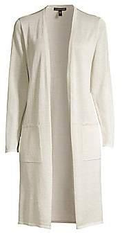 Eileen Fisher Women's Simple Long Lurex Organic Linen-Blend Cardigan