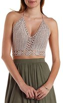 Charlotte Russe Cropped Macrame Halter Top
