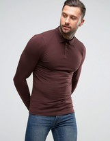 Asos Extreme Muscle Long Sleeve Polo In Burgundy