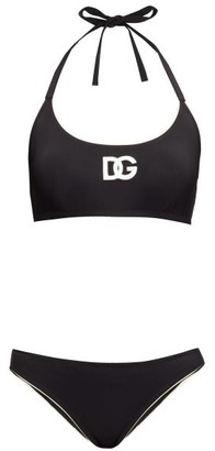 Dolce & Gabbana Logo-applique Halterneck Bikini - Black