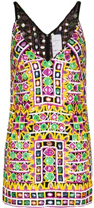 Ashish Sequin-Embellished Patterned Mini Dress