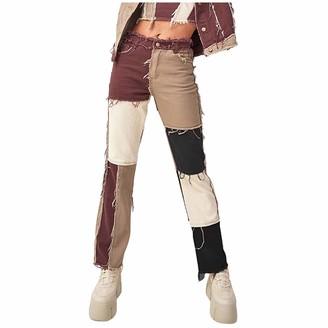 Memefood Women High-waisted Jeans Trumpet Ripped Matching Color Spliced Long Denim Pants