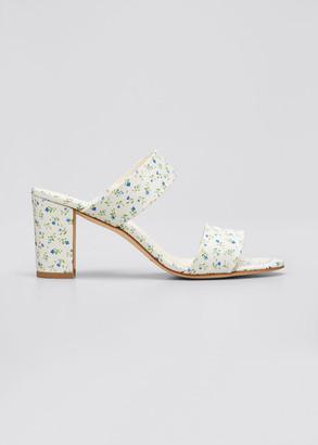 Manolo Blahnik Kalita Embroidered Flower Slide Sandals
